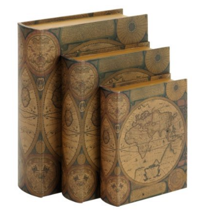 Amazon.com Benzara Beautifully Designed Wood Leather Book Box Set of 3 Childrens Bookends