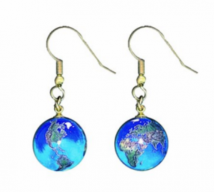 Amazon.com Earrings Blue Earth Marbles Natural Earth Continents Gold Fill Findings Half Inch Diameter Globes Dangle Earrings Jewelry