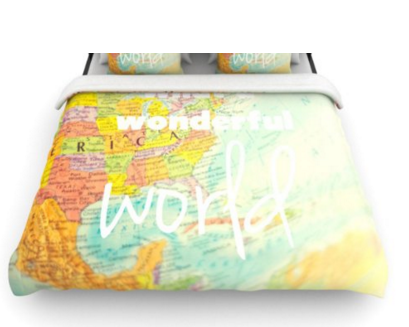 Amazon.com Kess InHouse Libertad Leal What a Wonderful World 68 by 88 Inch Woven Duvet Cover Twin Map