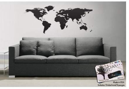 Amazon.com World Map of Earth Wall Decal Sticker BLACK by Stickerbrand 21in X 51in. Easy to Apply Removable. Made in the USA. Includes Squeegee for Application. BLACK color Automotive